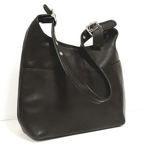 Vintage Coach Black Leather Shoulder Hobo Bag 9058